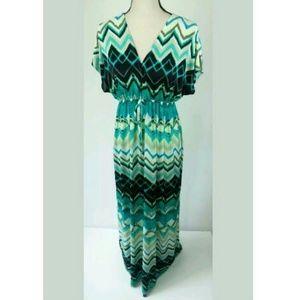 Cristina Love Maxi Chevron Beach Dress Tie V-Neck